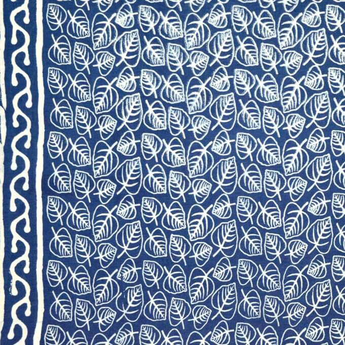 Indigo Blue traditional Print Fabric by the yard