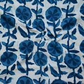 Indigo White Block Print Cotton Fabric-14593