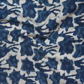 White Indigo Block Print Cotton Fabric-14747
