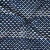 Indigo White Block Print Cotton Fabric-14748