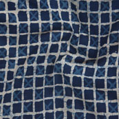Indigo White Block Print Cotton Fabric-14750