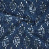 Indigo White Block Print Cotton Fabric-14760