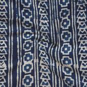 Indigo White Block Print Cotton Fabric-14767