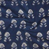 Indigo White Block Print Cotton Fabric-14778
