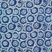 Indigo and White Floral Ajrakh Pattern Cotton Fabric