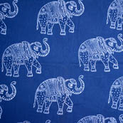 Indigo and white large elephant cotton block print fabric-5189