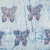 Indigo blue and white butterflu cotton block print fabric-4585