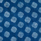Indigo blue and white circle shape block print fabric-4582