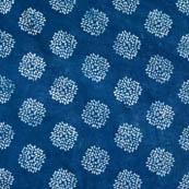 Indigo blue and white circle shape block print fabric-4582