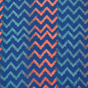 Indigo blue multicolored zig zag block print fabric-4574