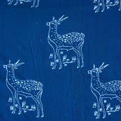 Indigo white deer block print fabric-4559