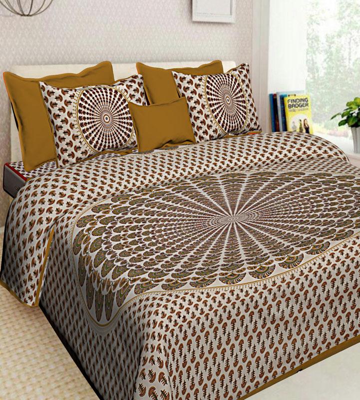 Ivory Beige Cotton Jaipuri Bedsheet-604