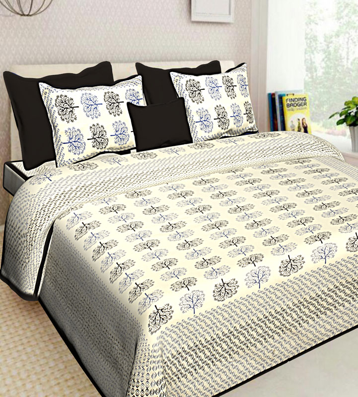 Ivory Black Cotton Jaipuri Bedsheet-577