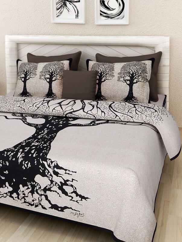 Ivory Black Cotton Jaipuri Bedsheet-657