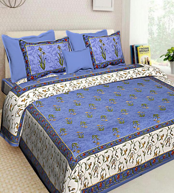 Ivory Blue Cotton Jaipuri Bedsheet-551