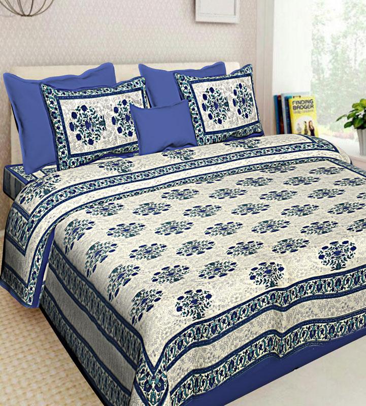 Ivory Blue Cotton Jaipuri Bedsheet-563