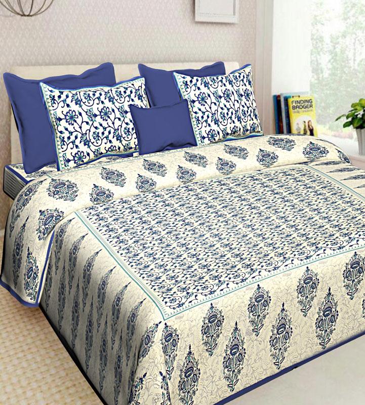 Ivory Blue Cotton Jaipuri Bedsheet-572