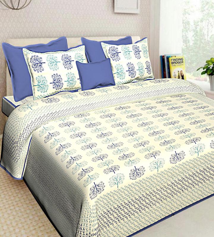 Ivory Blue Cotton Jaipuri Bedsheet-576