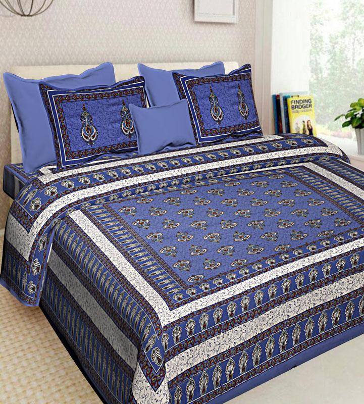 Ivory Blue Cotton Jaipuri Bedsheet-587