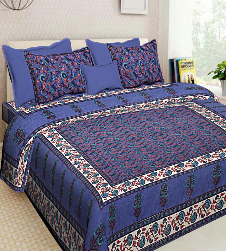 Ivory Blue Cotton Jaipuri Bedsheet-593