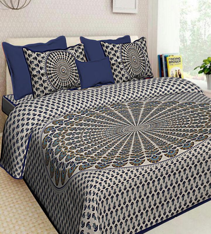 Ivory Blue Cotton Jaipuri Bedsheet-601