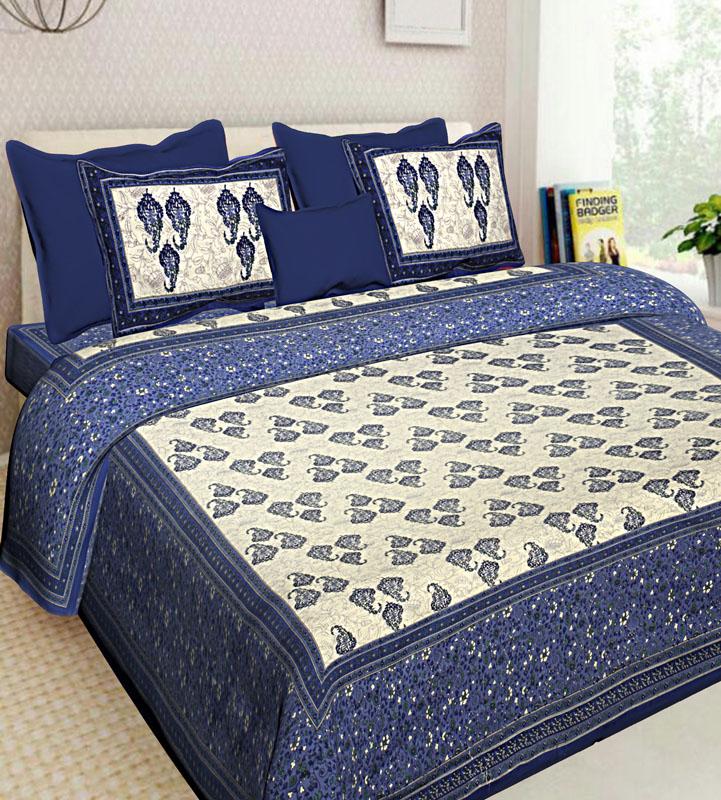 Ivory Blue Cotton Jaipuri Bedsheet-616