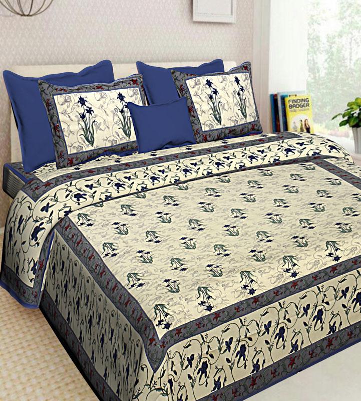 Ivory Blue Cotton Jaipuri Bedsheet-634