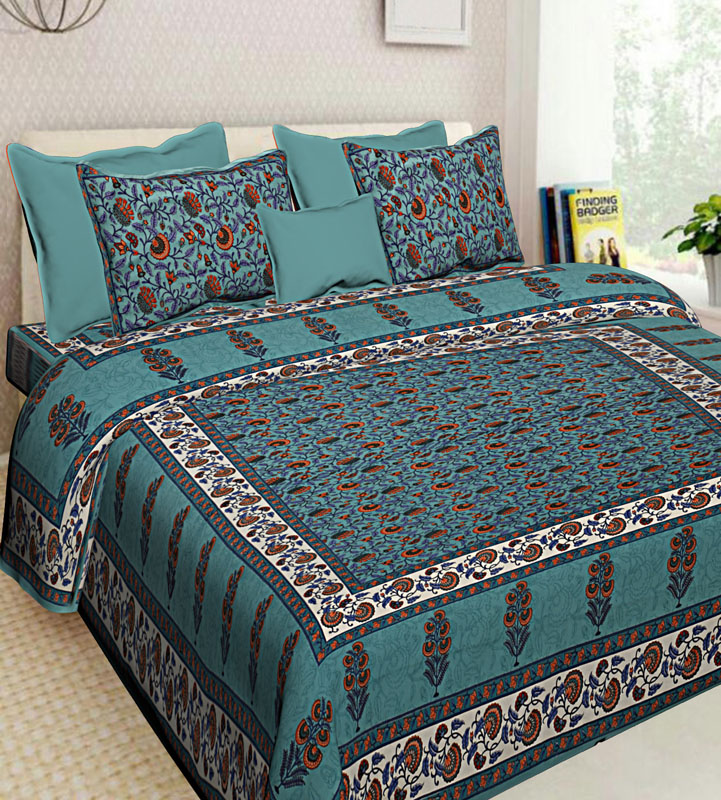 Ivory Bottle Green Cotton Jaipuri Bedsheet-591