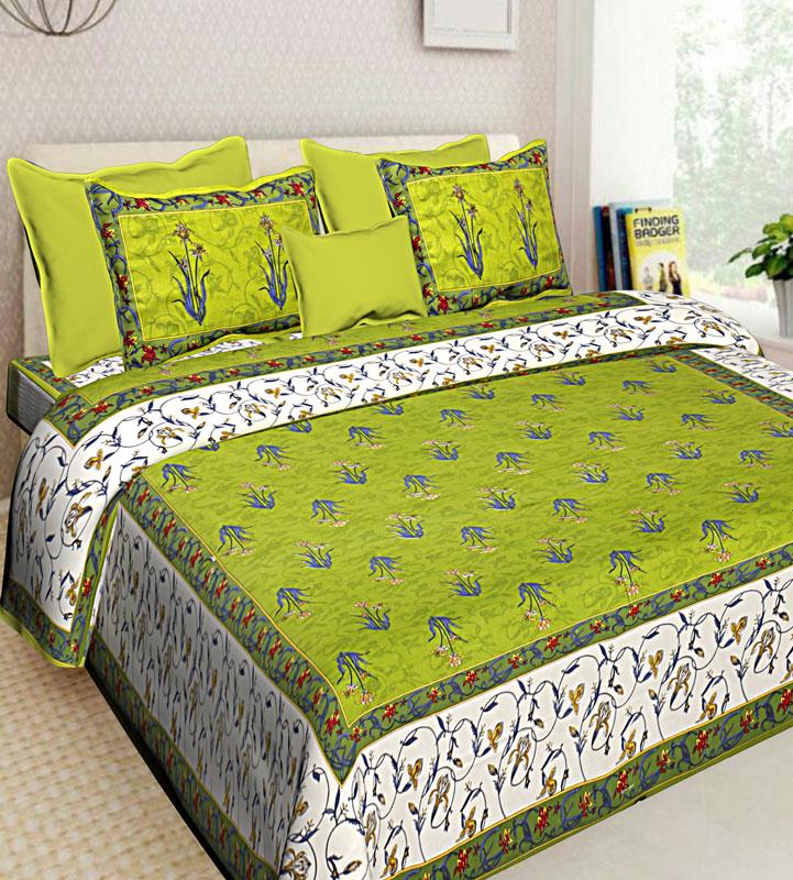 Ivory Green Cotton Jaipuri Bedsheet-553