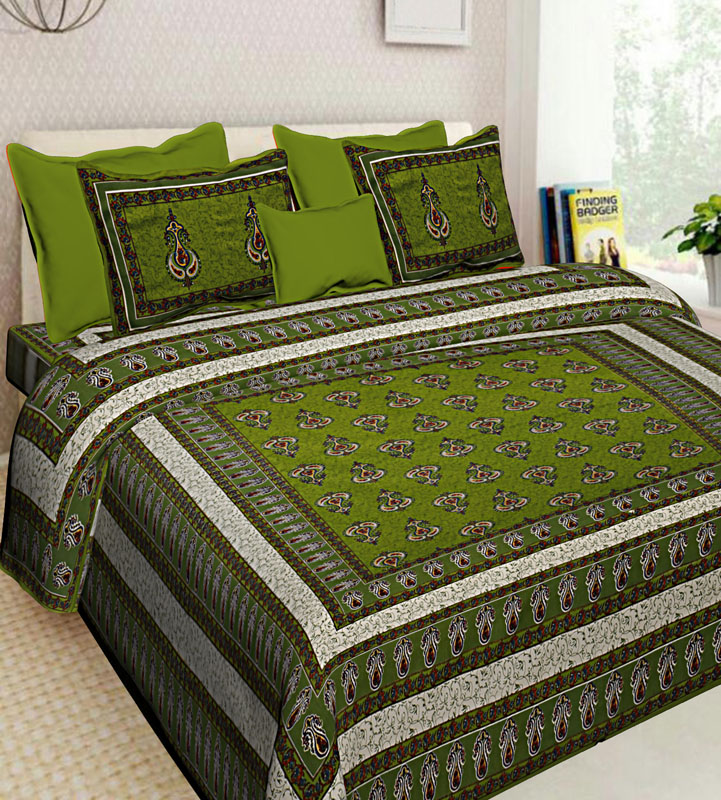 Ivory Green Cotton Jaipuri Bedsheet-590