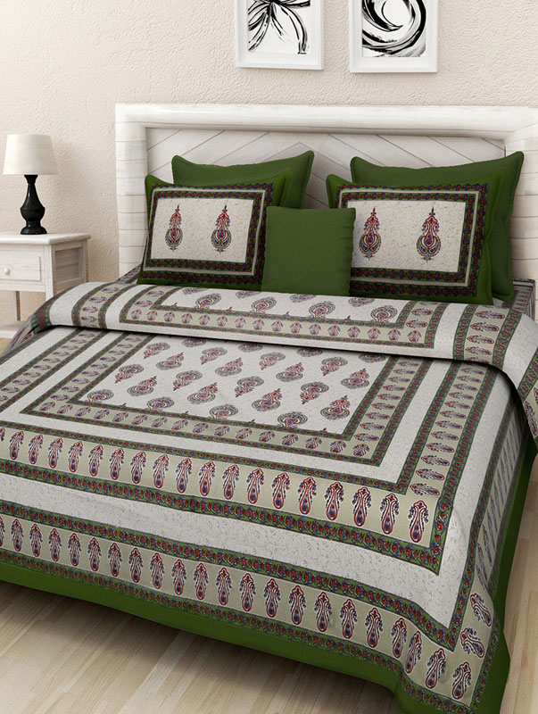 Ivory Green Cotton Jaipuri Bedsheet-671
