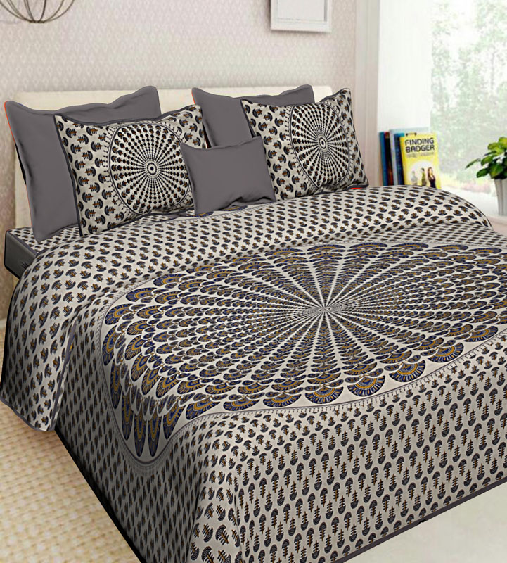 Ivory Grey Cotton Jaipuri Bedsheet-605