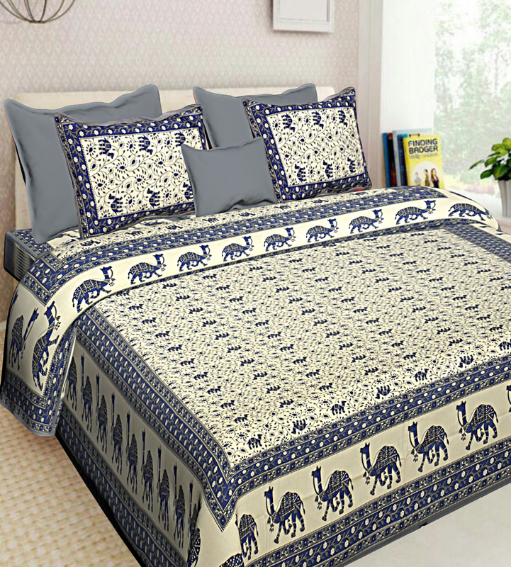 Ivory Grey Cotton Jaipuri Bedsheet-625