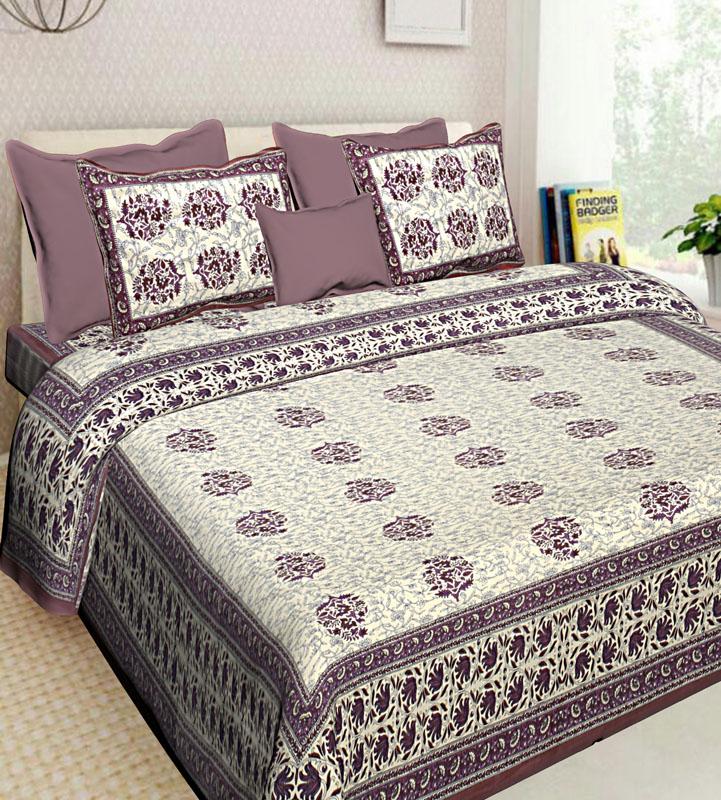 Ivory Mauve Pink Cotton Jaipuri Bedsheet-611