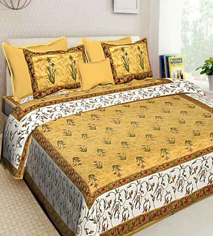 Ivory Mustard Cotton Jaipuri Bedsheet-554
