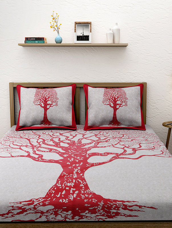 Ivory Red Cotton Jaipuri Bedsheet-660