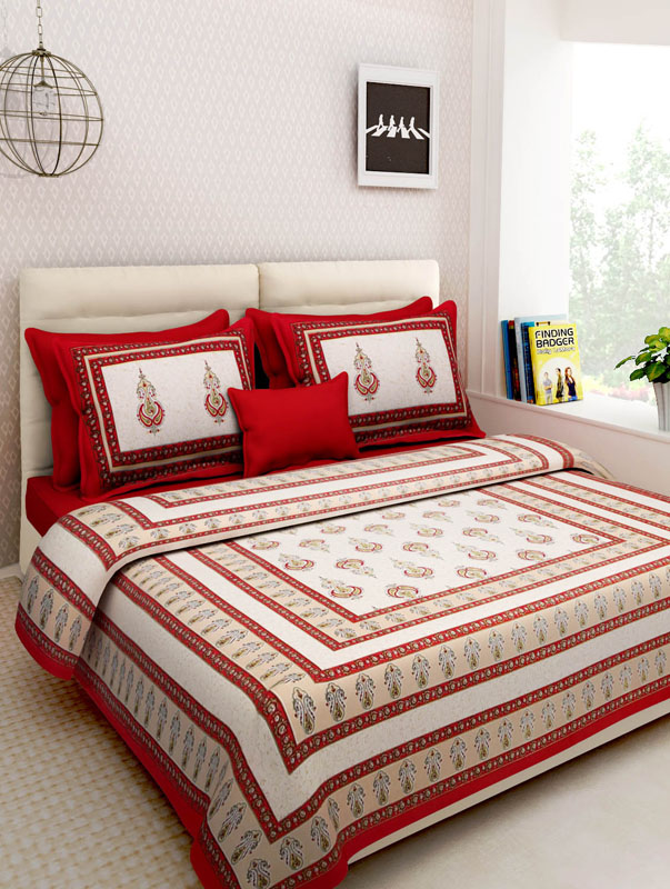 Ivory Red Cotton Jaipuri Bedsheet-670