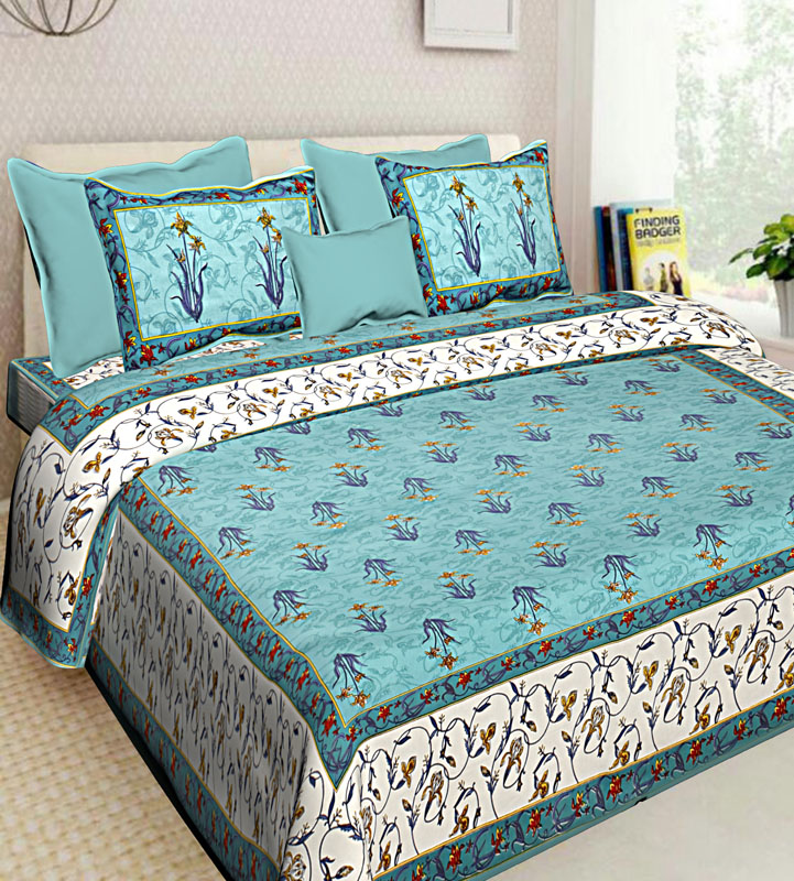 Ivory Sea Green Cotton Jaipuri Bedsheet-555