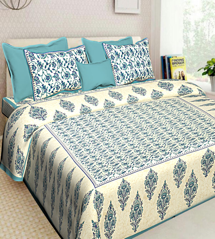 Ivory Sea Green Cotton Jaipuri Bedsheet-574