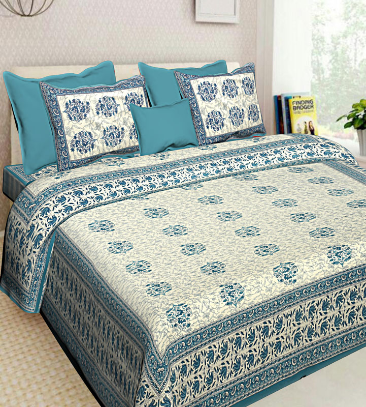 Ivory Sea Green Cotton Jaipuri Bedsheet-613