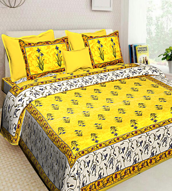 Ivory Yellow Cotton Jaipuri Bedsheet-552