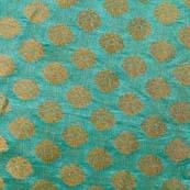 Jade Green and Golden Flower Brocade Silk Fabric-1056