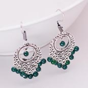 Leaf Pattern Silver Drop Earring with Dark Green Pearls for Women