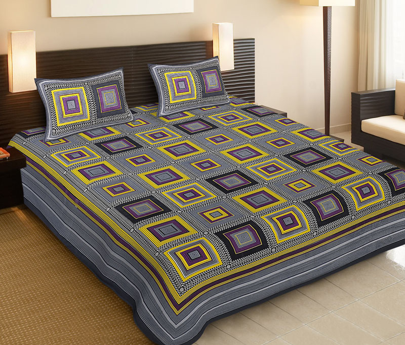 Lemon Gray Cotton Jaipuri Bedsheet-508