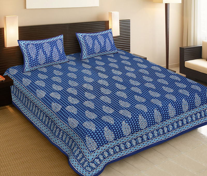 Light Blue Blue Cotton Jaipuri Bedsheet-521