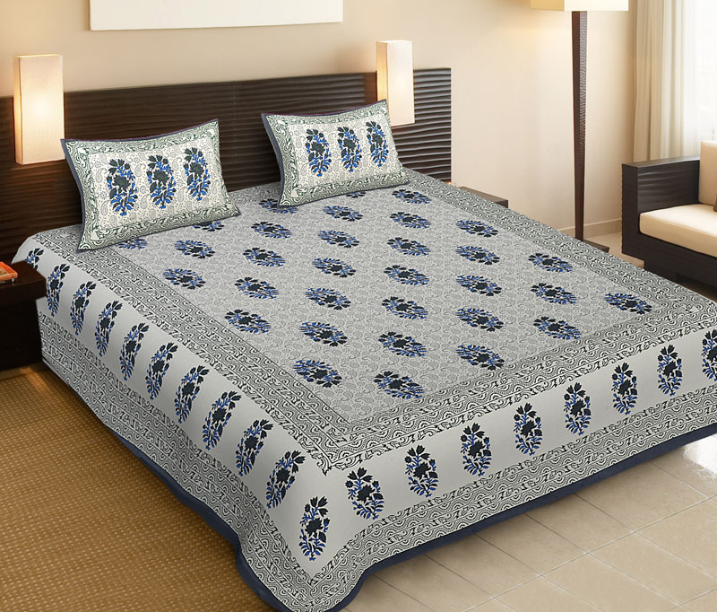 Light Blue Gray Cotton Jaipuri Bedsheet-539