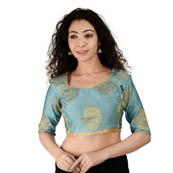 Light Blue and Golden Elbow Sleeve Silk Brocade Blouse-30182