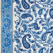 Light Blue and White Paisley and Leaves Print Cotton Fabric