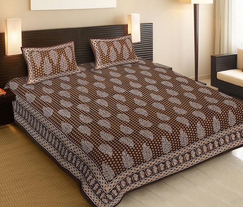 Light Brown Brown Cotton Jaipuri Bedsheet-522