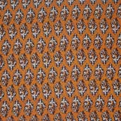 Light Brown and Dark Maroon Floral Pattern Block Print Cotton Fabric